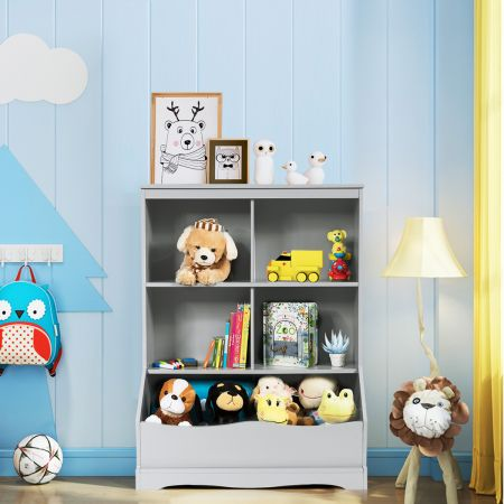 Costway Scaffale per giocattoli con 3 livelli, Organizer giocattoli con 4 scomparti aperti e un contenitore, Grigio