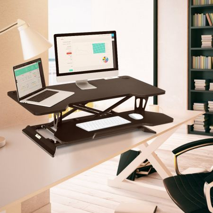 Costway Alzata per computer con altezza regolabile, Alzata per monitor con superficie elevata, Nero