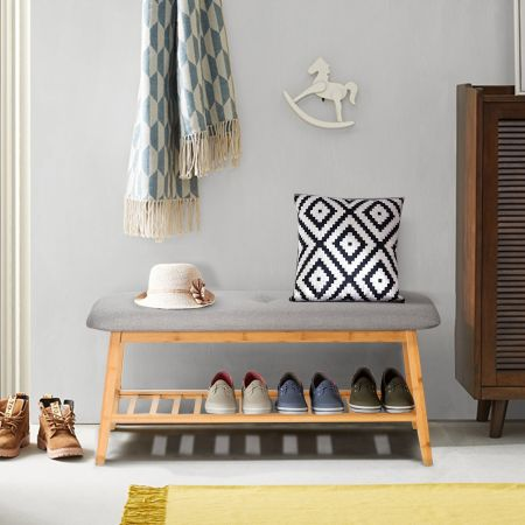 Costway Panca porta scarpe tappezzata con 1 livello, Organizer scarpe in bambù con cuscino morbido 100 x 31 x 45 cm