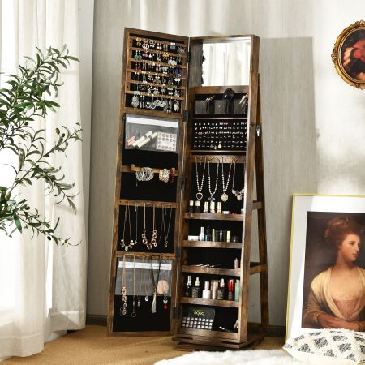 Costway Armadio portagioielli girevole a 360° con specchio, Organizer gioielli 2 in 1 a figura intera, Naturale