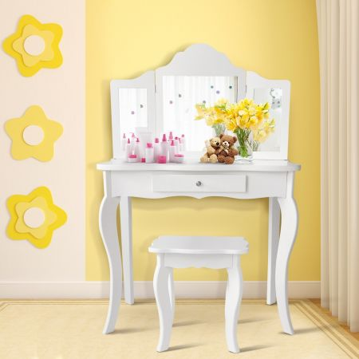 Costway Set toeletta per bambini, Tavolo toeletta principessa con sgabello specchio pieghevole, Bianco
