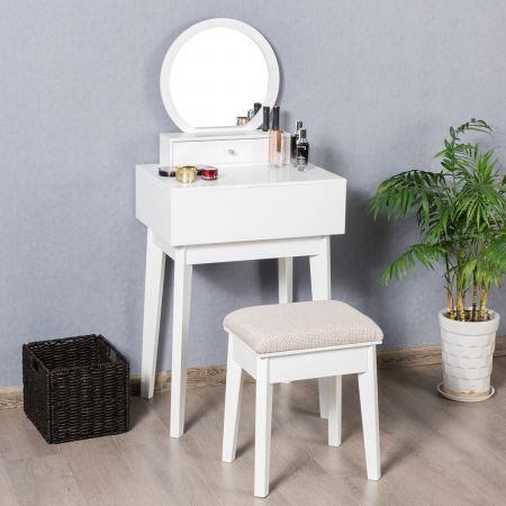 Costway Specchio da toeletta rotondo con cassetto rimovibile, Specchio moderno a muro o su scrivania, Bianco