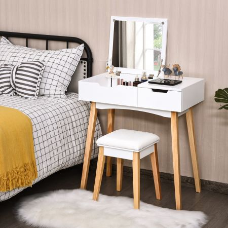 Costway Toeletta con specchio ermetico, Toeletta di legno con sgabello e cassetto, Bianco