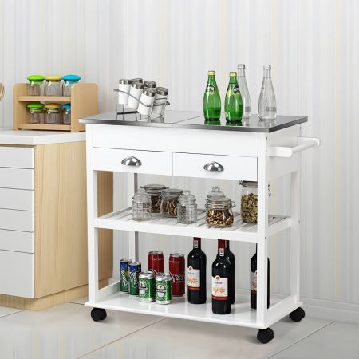 Costway Carrello da cucina con superficie apribile in acciaio inox, Isola da cucina con ruote 87,5x40x82cm Bianco