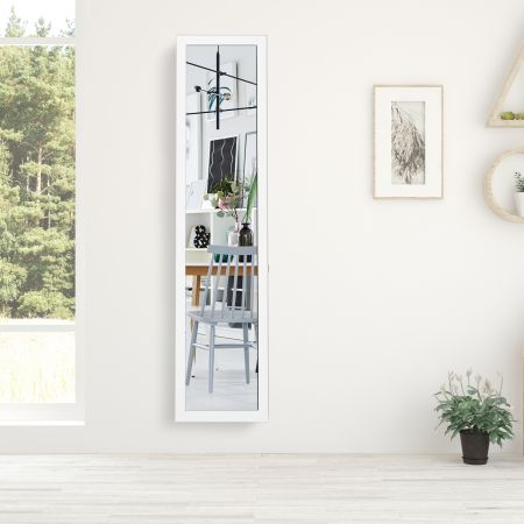 Costway Specchio a figura intera 155 x 37 cm con struttura di legno, Specchio moderno per camera da letto salone ingresso, Bianco