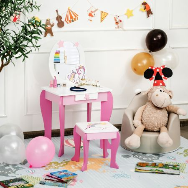 Costway Toeletta per bambine, toeletta principesse con sgabello specchio smontabile e cassetto, Rosa e bianco