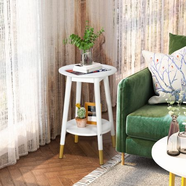 Costway Tavolino da salotto con 2 livelli, Tavolino rotondo per salone e balcone, Bianco