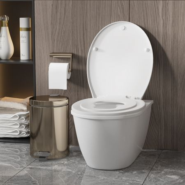 Costway Copriwater per adulti e bambini, Sedile del water 2 in 1 per imparare ad andare in bagno, Bianco