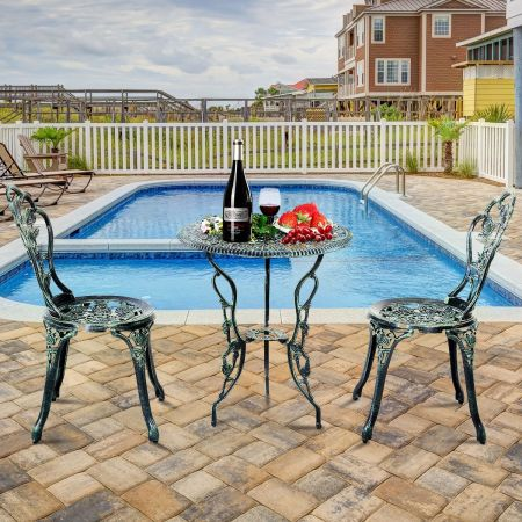 Costway Set 3 pezzi da esterno in ghisa e alluminio, Tavolo con foro per ombrellone e 2 sedie da giardino