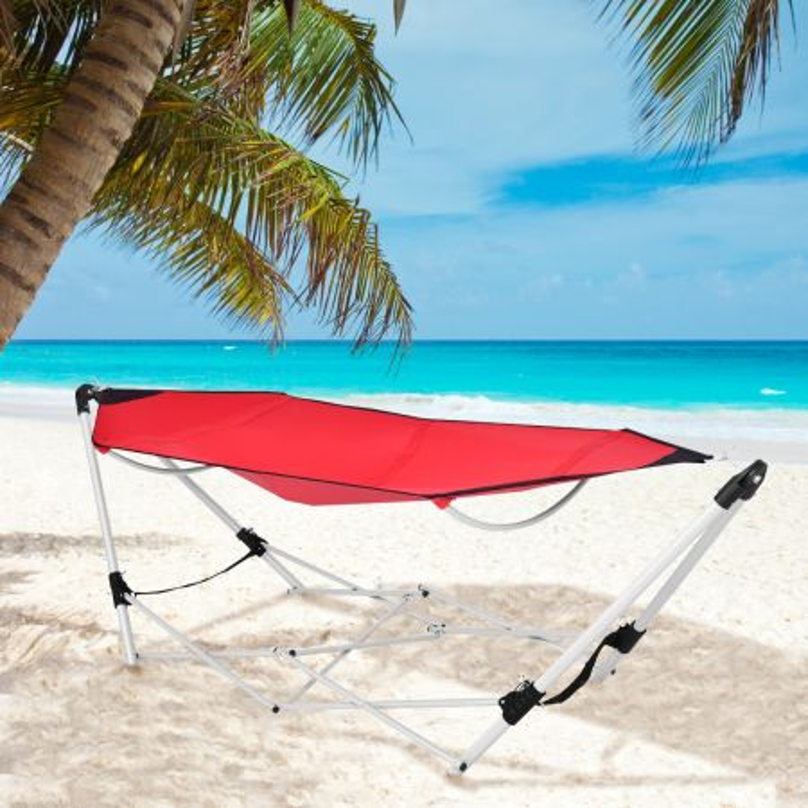 Costway Amaca pieghevole e portatile da esterno con struttura e borsa, Amaca per cortile spiaggia trekking campeggio Rosso