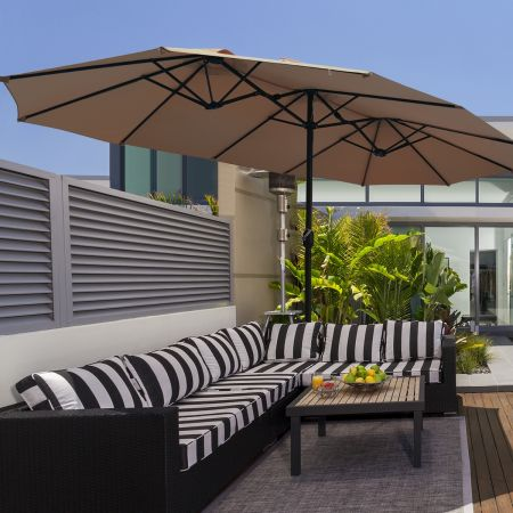 Costway Ombrellone doppio con base per cortile, Ombrellone da esterno con manovella manuale, Marrone chiaro