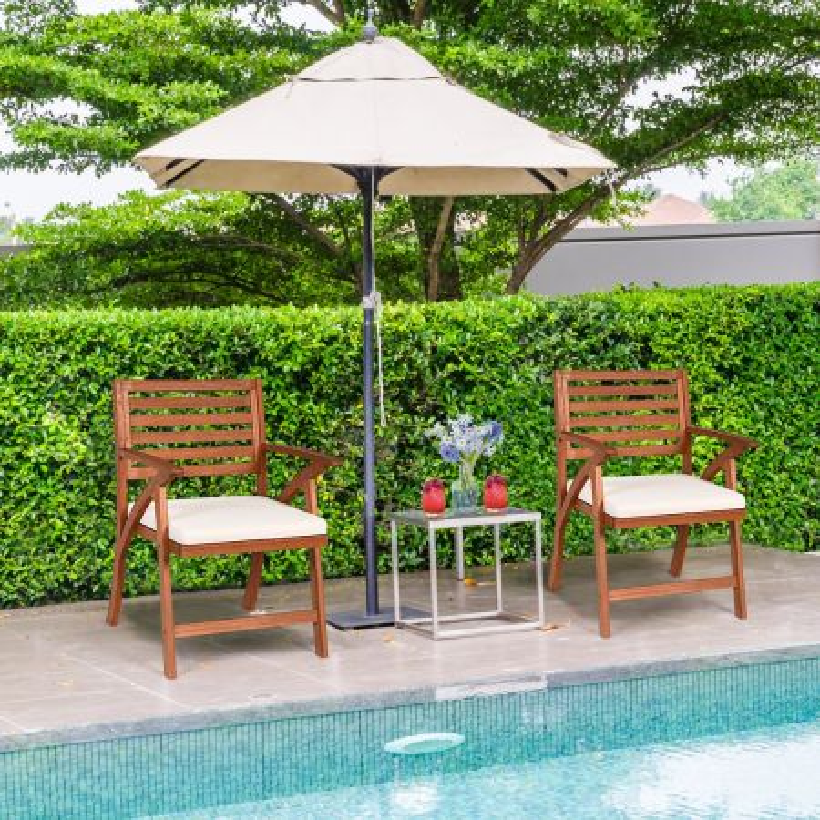 Costway 2 sedie in legno di eucalipto da giardino, Sedie da esterno con schienale curvo e braccioli ampi