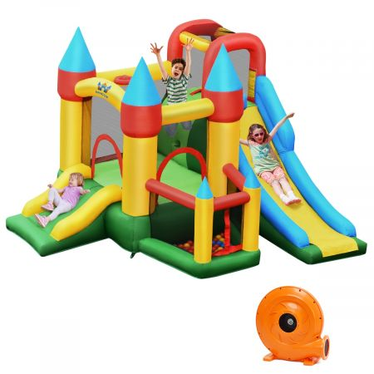 Costway Castello gonfiabile per bambini con 2 scivoli e compressore 780W, Casa gonfiabile con borsa di trasporto