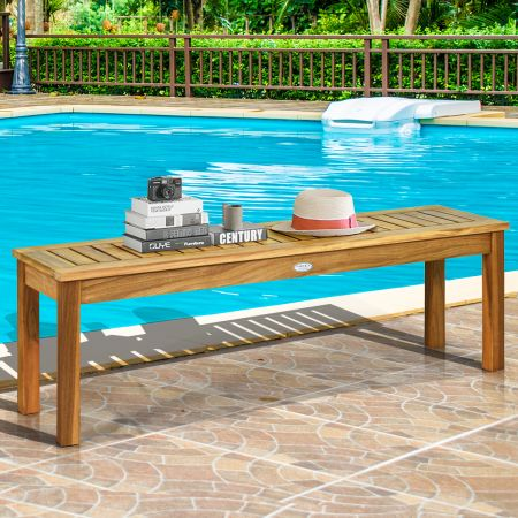 Costway Panca in legno di acaica per sala da pranzo ingresso piscina giardino, Panca senza schienale con sedile a listoni