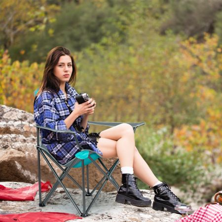 Costway Sedia pieghevole da campeggio per ombra con porta bicchiere, Sedia con tettuccio e borsa di trasporto Turchese