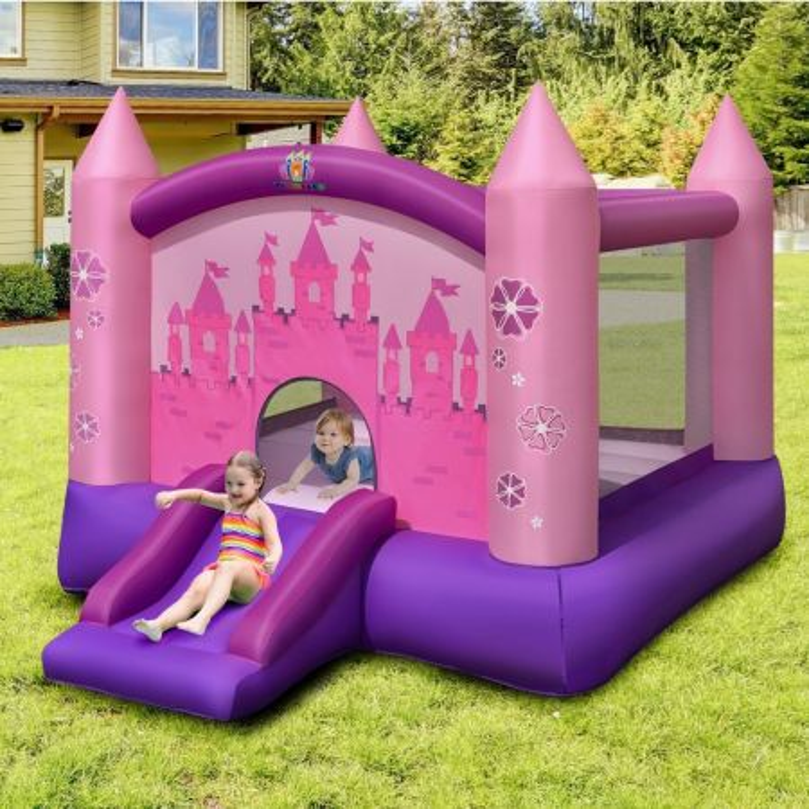 Costway Casa gonfiabile da saltare con scivolo e compressore per 2 bambini, Scivolo gonfiabile con borsa di trasporto