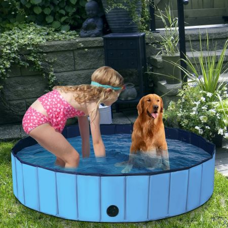Costway Piscina pieghevole diametro 160 cm per cani, Piscina con valvola di drenaggio girevole, Blu