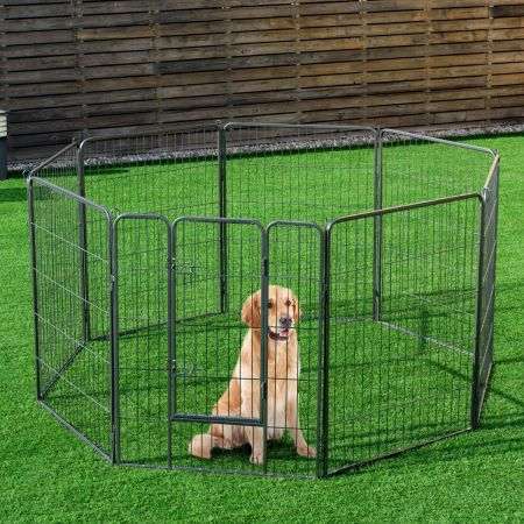 Costway Recinto per animali con 8 pannelli di metallo da interno ed esterno, Gabbia portatile per cane 100x80cm