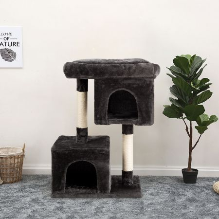 Costway Trespolo per gatti con 2 livelli, casa attività con appartamenti felpati e piattaforme, Grigio scuro