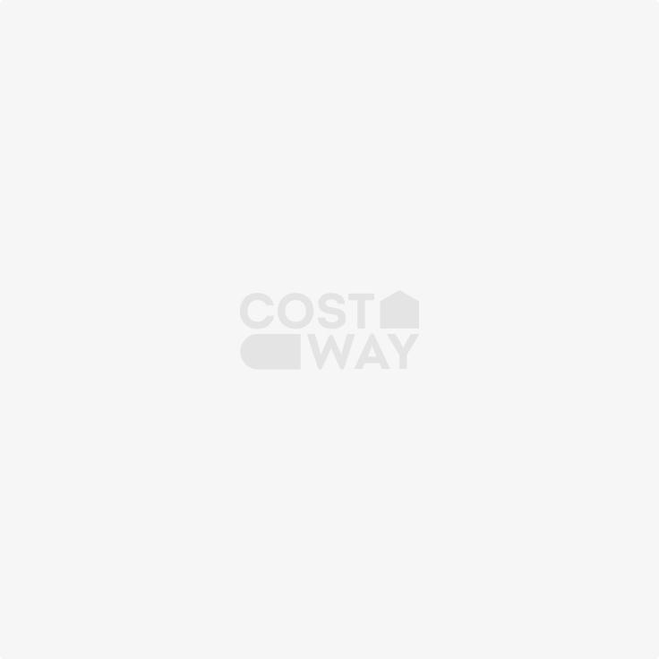 Costway Casetta di legno per cani con balcone rialzato, Casa per cani con pavimento sollevato e scale, Naturale