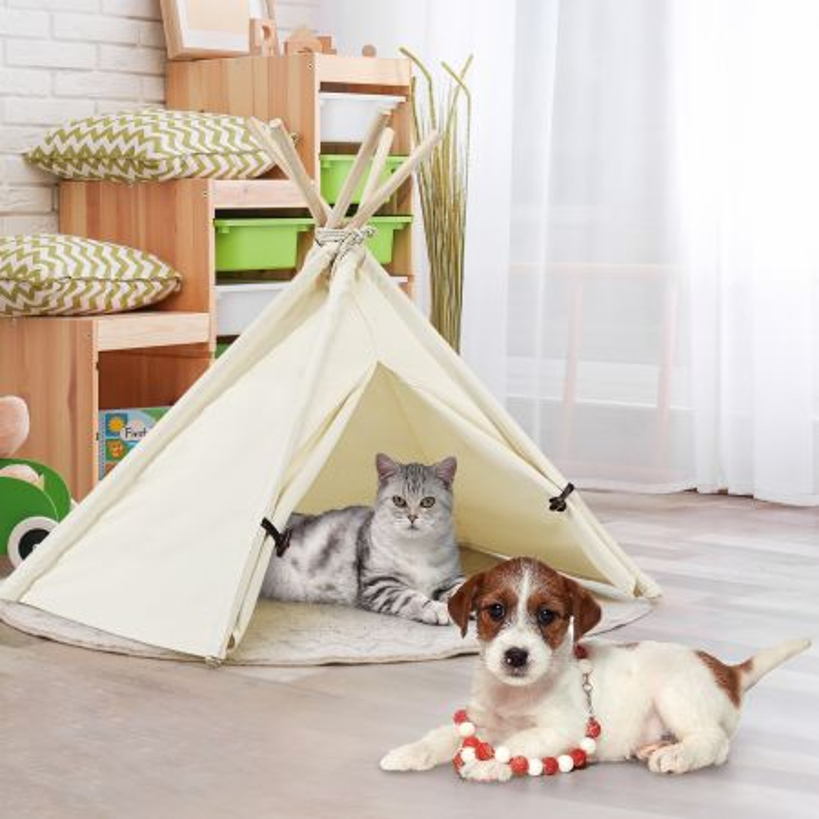 Costway Tepee per cuccioli gatti conigli, Tenda portatile con struttura stabile e corda resistente