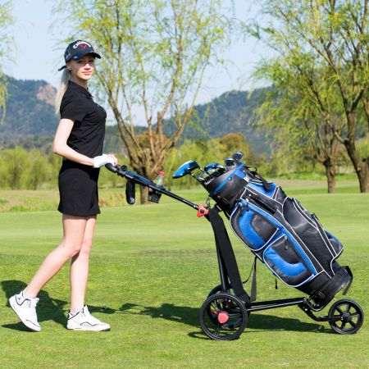 Costway Carrello da golf in ferro pieghevole con maniglia regolabile, Carrello da golf con 3 ruote e freno a pedale Nero