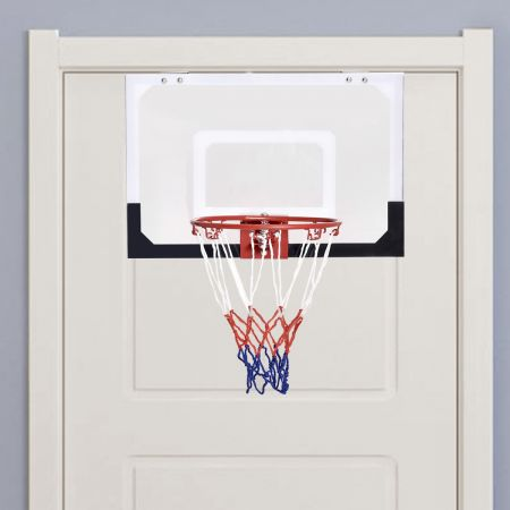 Costway Mini canestro da basket a muro da interno con pallacanestro e pompa 46x30,5cm