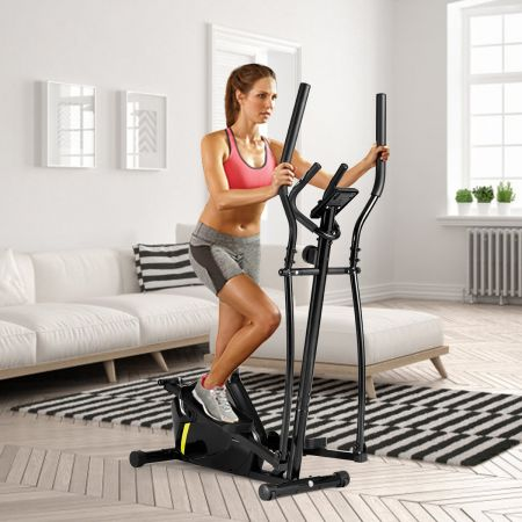 Costway Ellittica magnetica silenziosa con ruote, schermo e sensori frequenza cardiaca per allenamento cardio a casa o ufficio, Nero