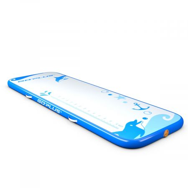 Costway Tappetino ginnastica gonfiabile con pompa 300x100x10cm Materassino gonfiabile per esercizi resistente Blu