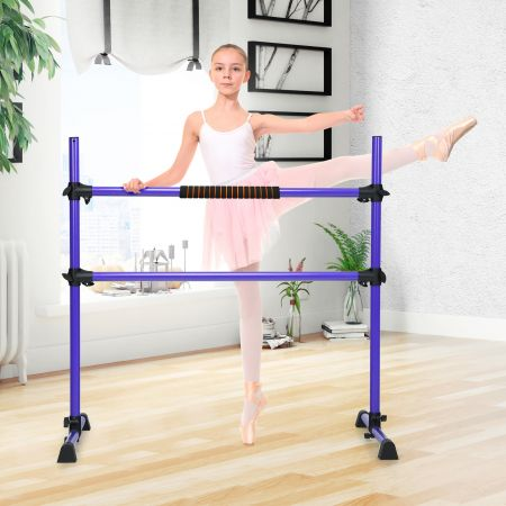 Costway Sbarra danza portatile con altezza regolabile, Doppia sbarra fitness per ballare e allungare i muscoli Viola