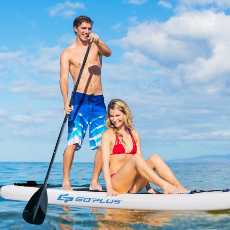 Costway Tavola da surf gonfiabile 335x76x15cm Stand up paddle sup board con kit da riparazione Bianco e Blu