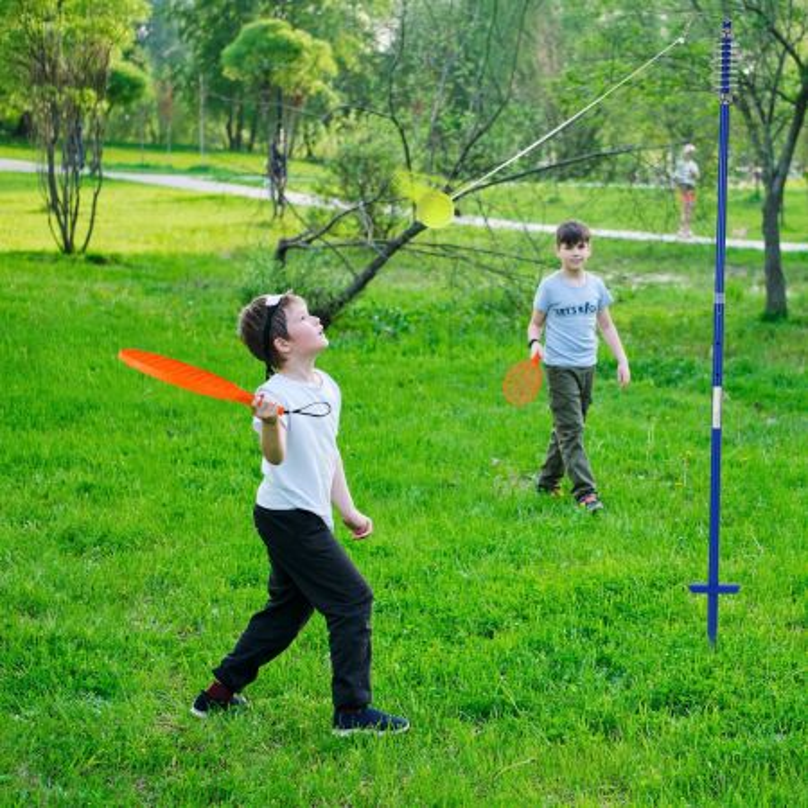 Costway Set gioco da esterno con palla oscillante e 3 livelli di altezza regolabili, Set portatile di tetherball
