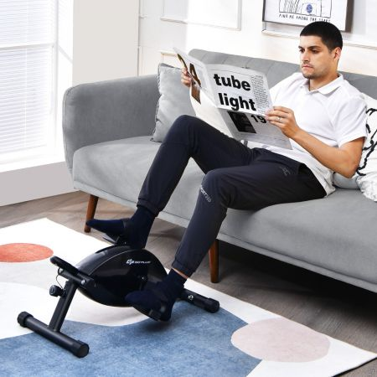 Costway Bici a pedali portatile con monitor digitale LCD, Mini bici regolabile silenziosa per allenare gambe e braccia