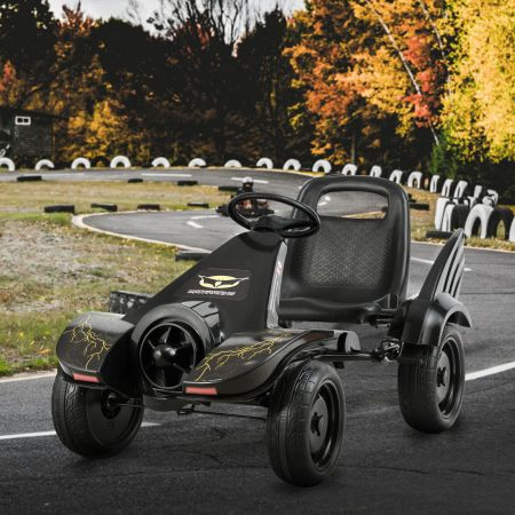 Costway Go kart a pedale con sedile avvolgente per bambini, Go kart con freno a mano per stop sicuro per interno ed esterno