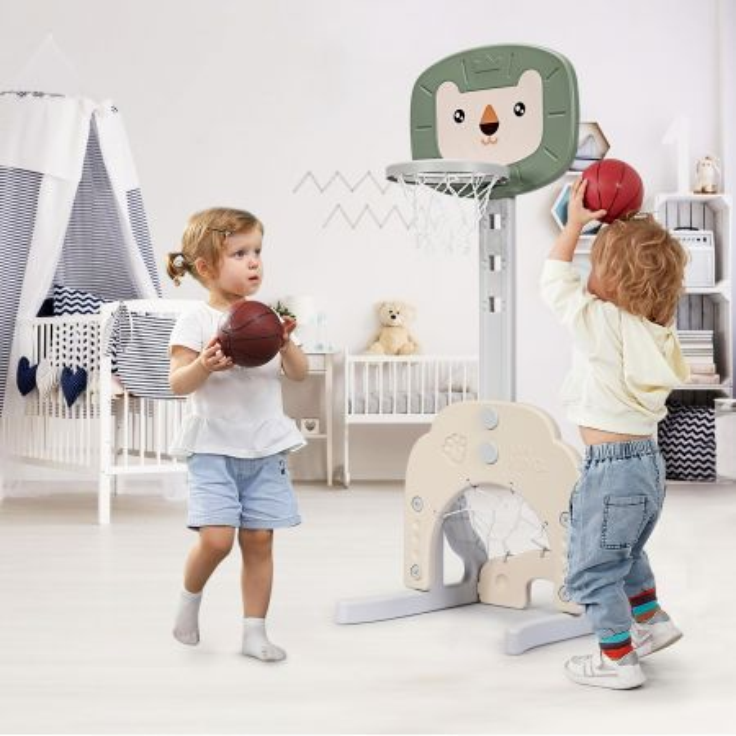 Costway Canestro da basket 3 in 1 con 5 altezze regolabili, Canestro da basket e gioco del golf per bambini, Verde