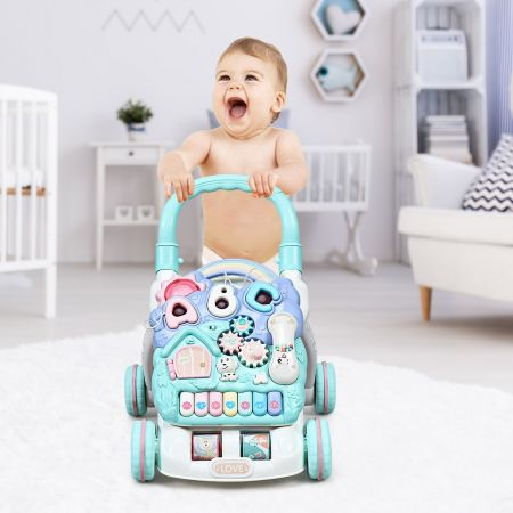 Costway Primi passi per bambini con la tastiera smontabile con luci e musica, Giocattolo attività multifunzionale, Blu