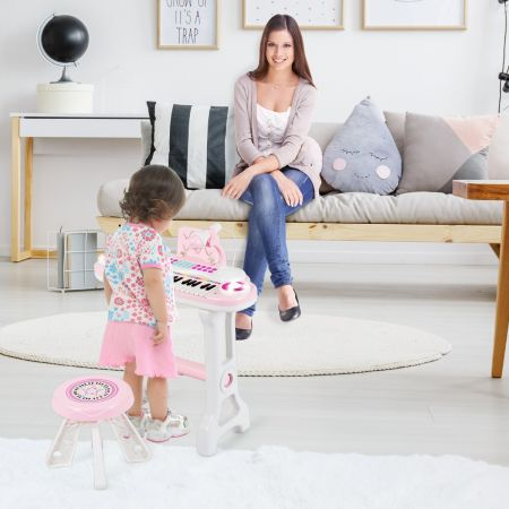 Costway Pianoforte giocattolo multifunzionale per bambini con 37 tasti, Tastiera elettronica con sgabello Rosa