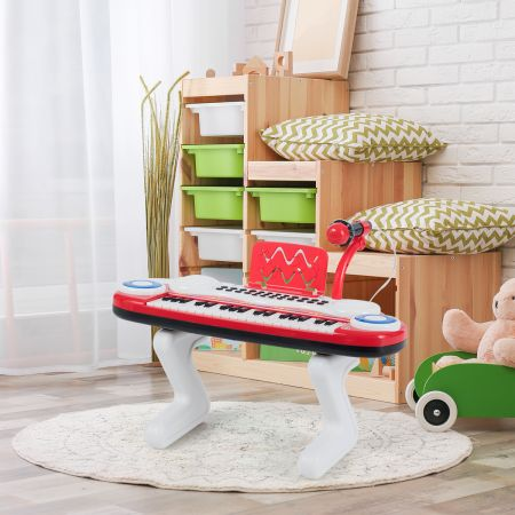 Costway Pianoforte elettronico con 37 tasti per bambini, Tastiera con ritmi luci microfono gambe smontabili, Rosso