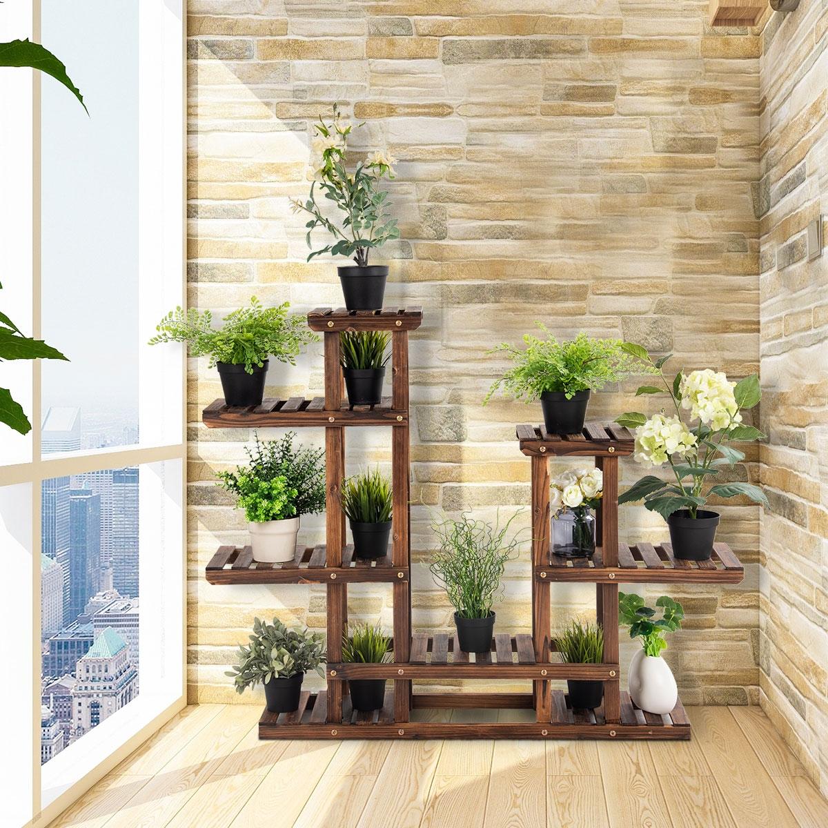 Costway Scaffale porta-fiori 6 ripiani in legno da interno e esterno Portafiori da giardino 120x25x96cm