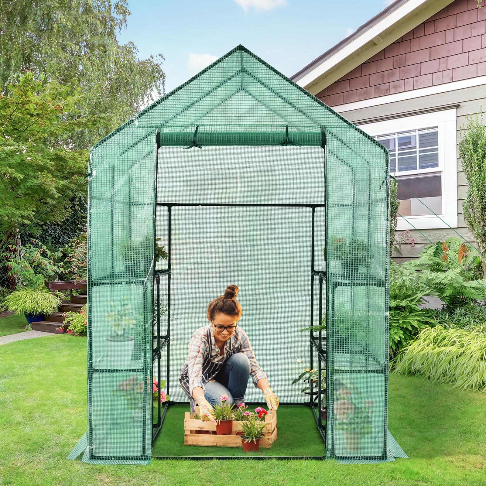 Costway Serra portatile per piante e fiori con porta arrotolabile con cerniera Mini serra con 2 finestre e 8 mensole