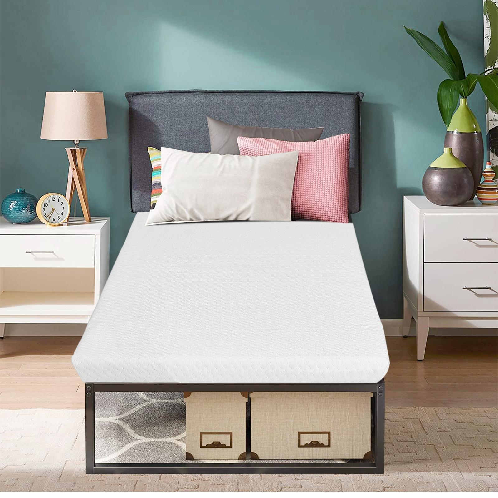 Costway Topper materasso singolo per dormire comodi Cuscinetto per materasso con fodera rimovibile 90x200x5cm