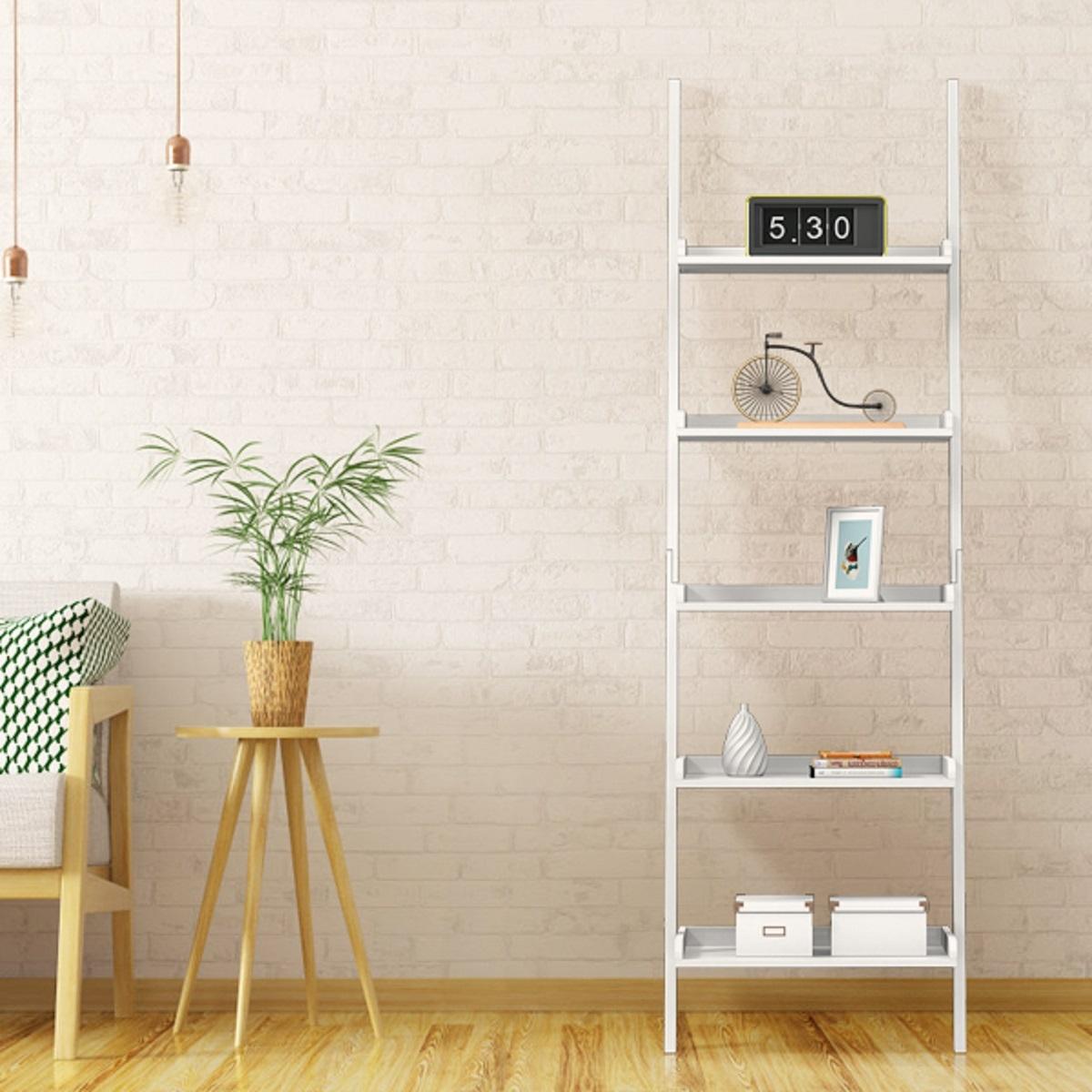 Costway Scaffale a scala con 5 ripiano in MDF da soggiorno e studio Libreria 60x30x190cm Bianco
