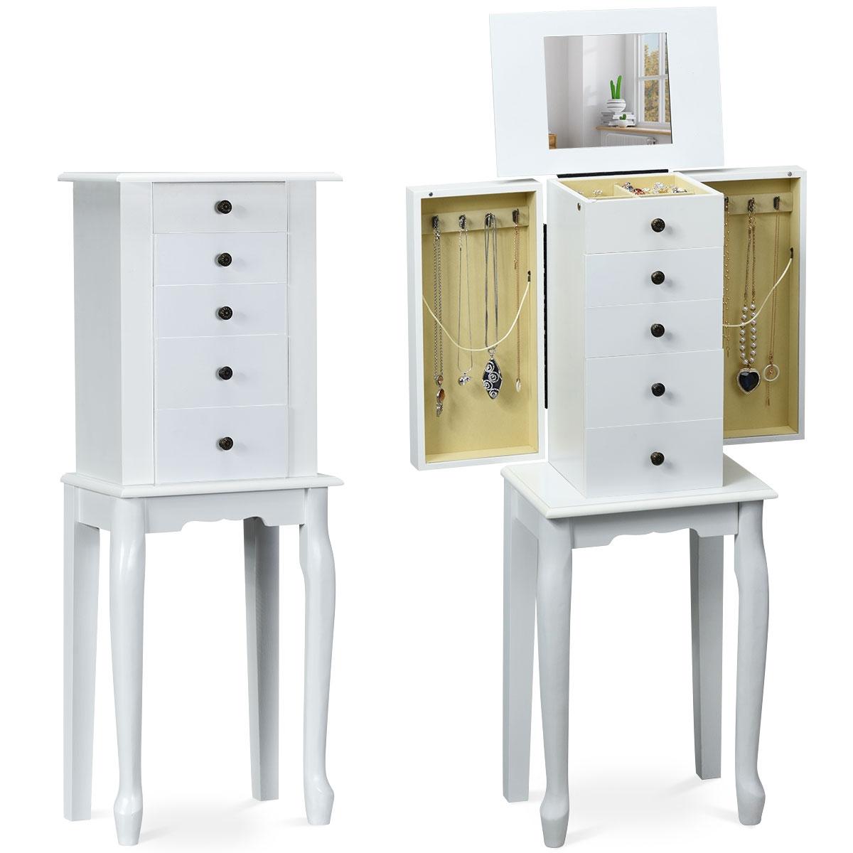 Ganci Per Appendere Collane costway armadio portagioielli in legno con spazio per anelli collane e  specchio girevole organizer per gioielli con 5 cassetti, bianco