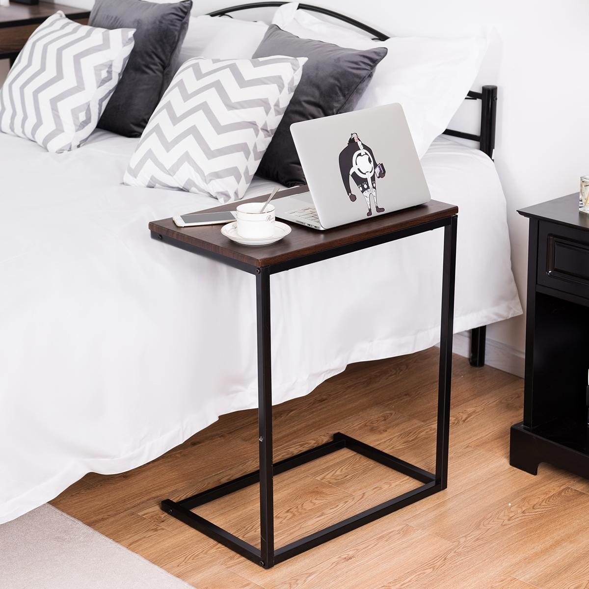 Costway Tavolino porta PC laptop multiplo in legno Tavolino da caffè 65x55x35cm Noce