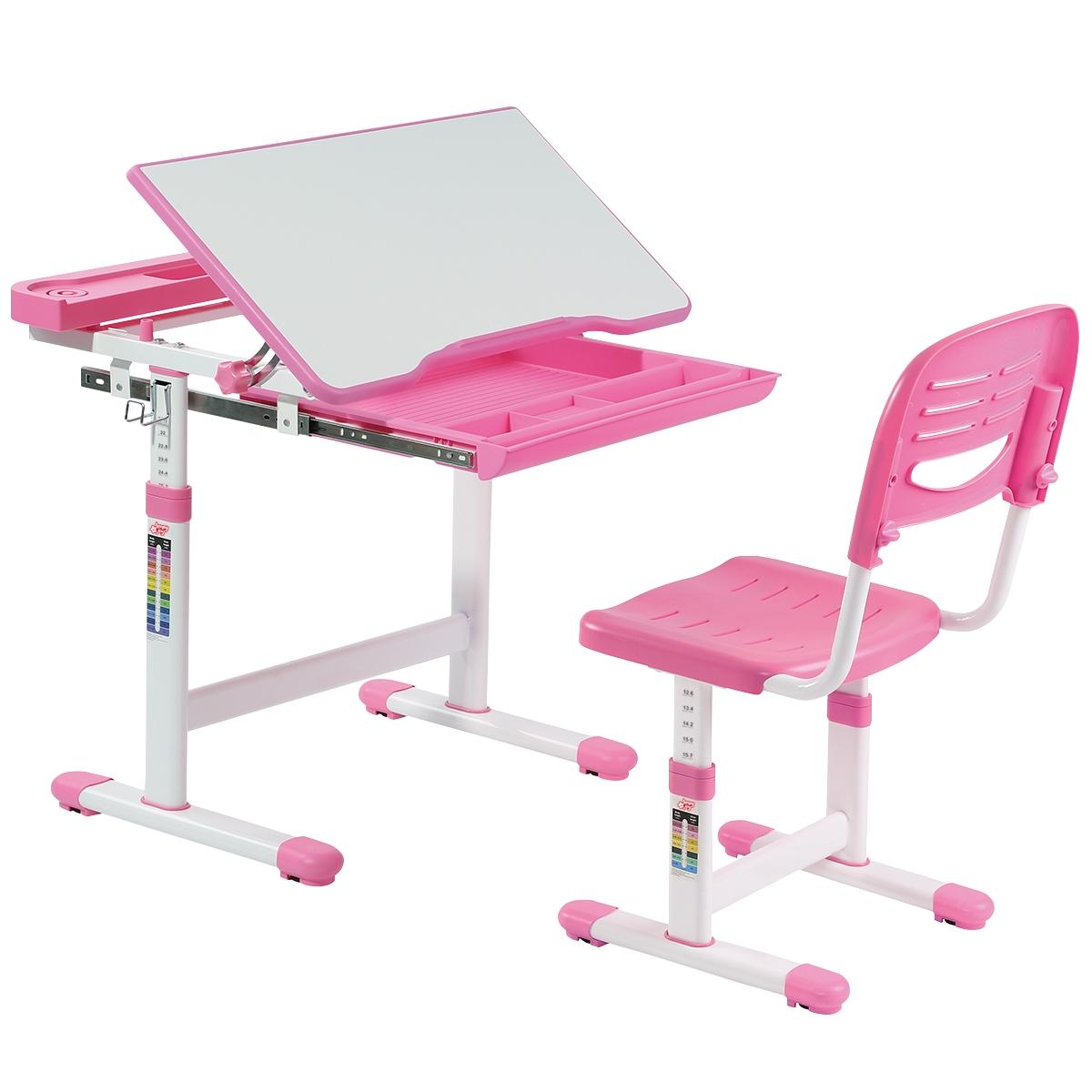Scrivania per Bambini Piano Inclinabile Regolabile per Bambini per Scrivere Tavolo Orientabile di 45 /° Leggere Rosa Disegnare EBTOOLS Scrivania per Bambini Tavolo