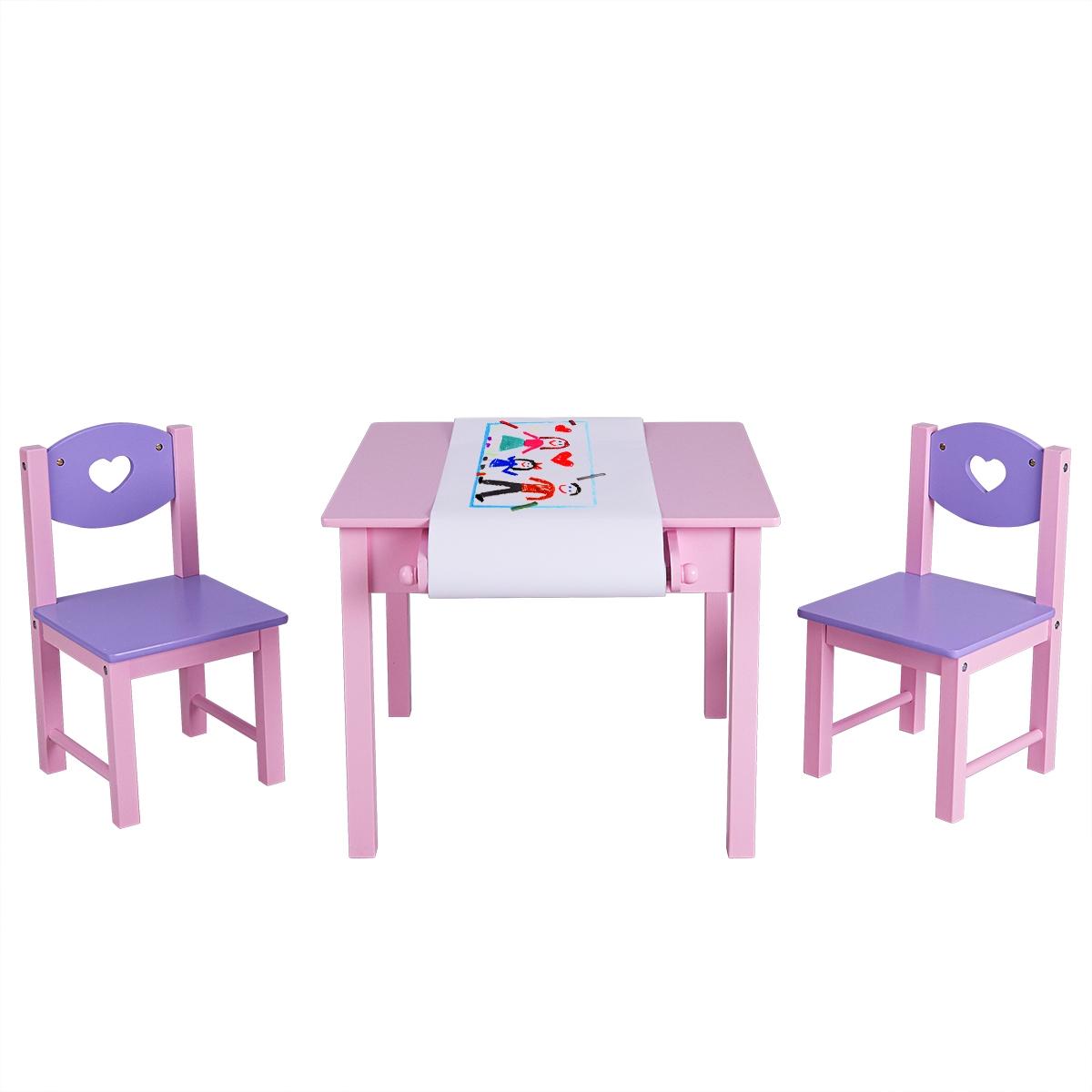 Costway Tavolo Da Disegno Per Bambini E 2 Sedie Tavolo Con Portarotolo Di Carta E 2 Cassetti Mobiletto Per Bimbi Rosa Viola Costway It