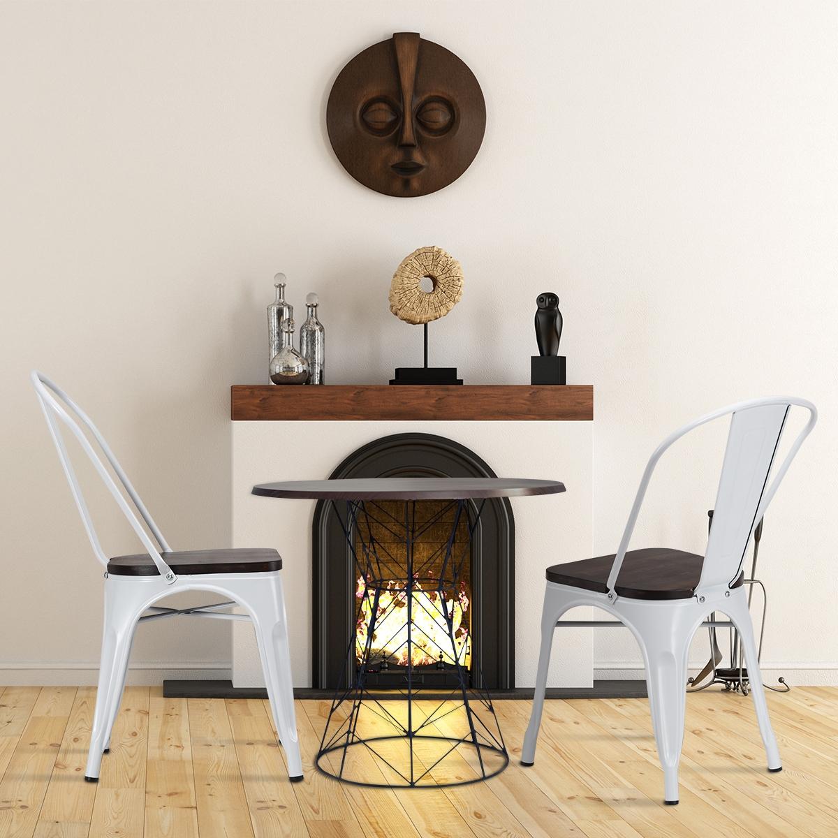 Costway Set di 4 sedie di metallo impilabili con schienale da cucina e da sala da pranzo Sedie vintage da bar Bianco