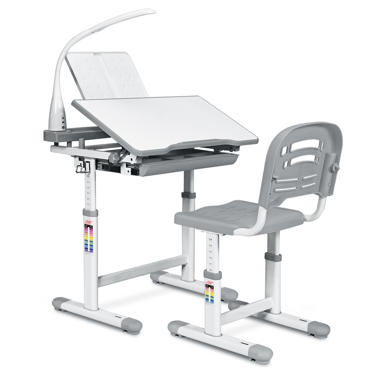 Costway Scrivania per bambini altezza regolabile 54 76cm Set tavolo e sedie bimbi inclinabile con lampada, Grigio