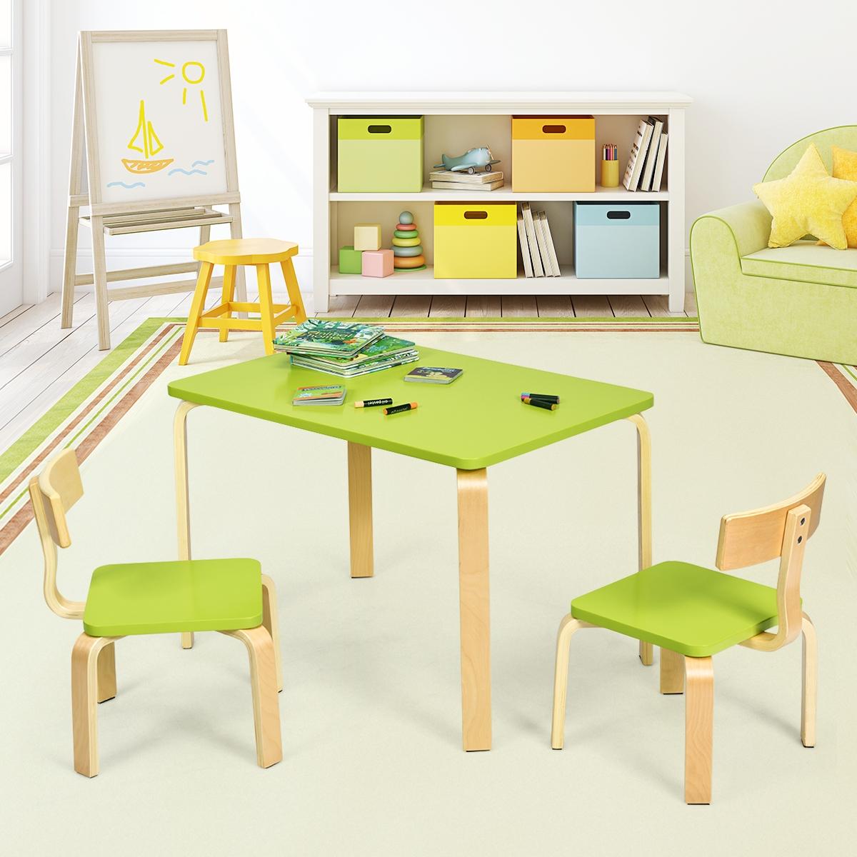 Costway Set tavolo e 2 sedie di legno per bambini per casa asilo e aule 78x53x53cm Verde