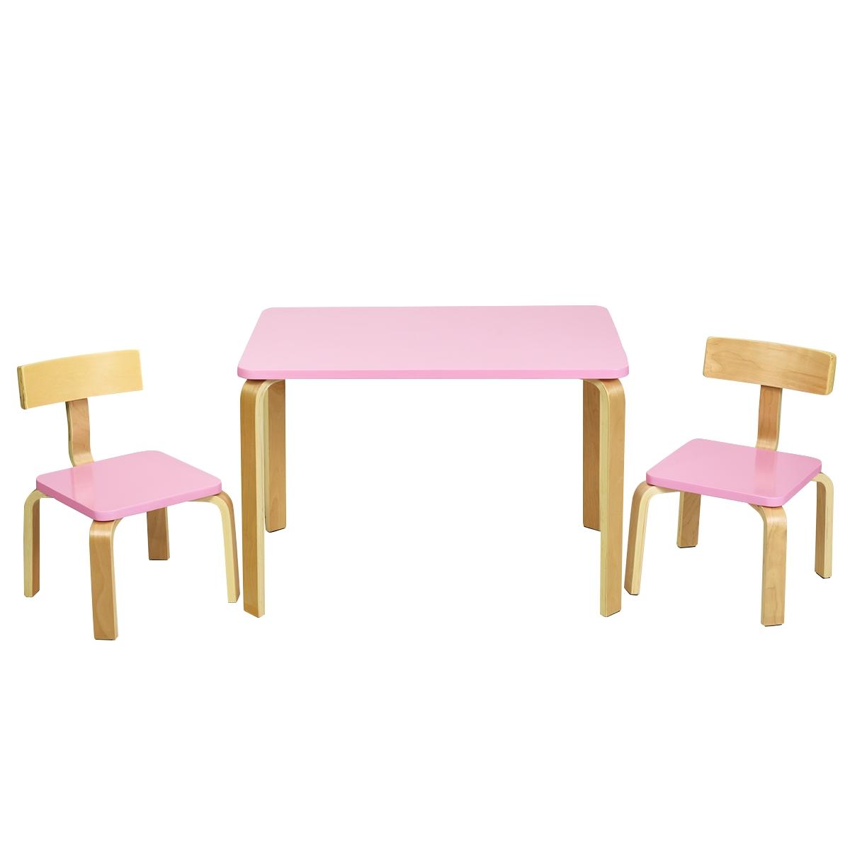 Costway Set tavolo e 2 sedie di legno per bambini per casa asilo e aule 78x53x53cm Rosa